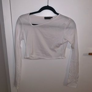 NWOT - PRETTY LITTLE THING white crop top